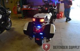 Whelen M4 LED Light - Split Red/Blue - 2 Total w/Bracket Mounted on rear trunk at 45 degrees